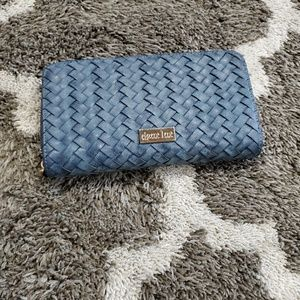 EUC deux lux accordion wallet. Blue weave pattern